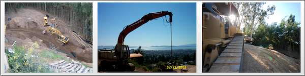 Excavating Landslide repair and erosion control california