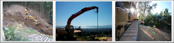 Excavating Landslide repair and erosion control california